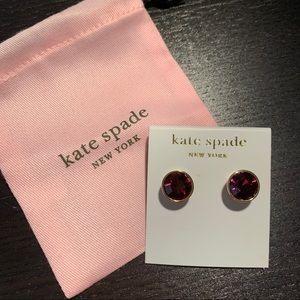 kate spade purple bezel set gumdrop earrings